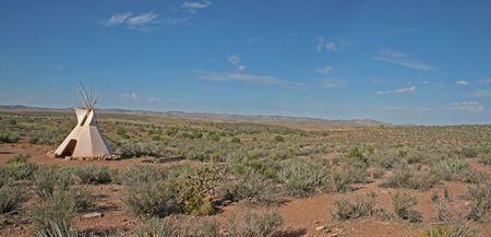 tepee: A tepee in the desert
