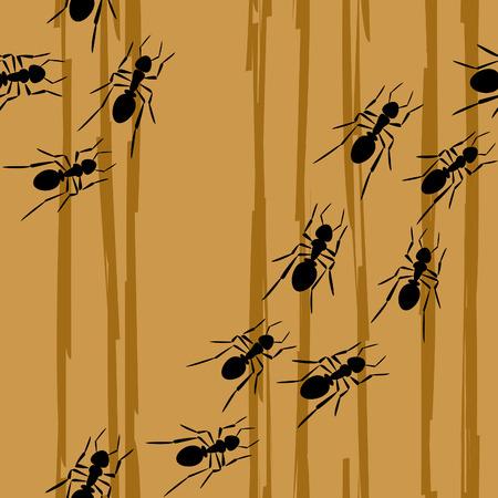 to creep: ants creep on a tree, seamless Illustration