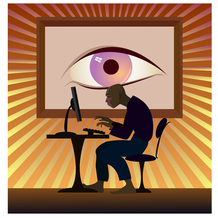 big brother: Big brother is watching you. The hacker works behind the computer Illustration