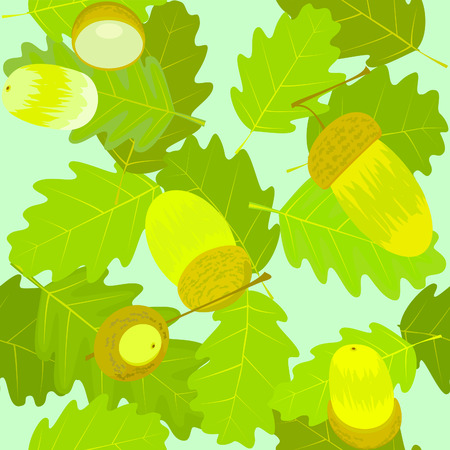 oak acorn with leafs, seamless Vector