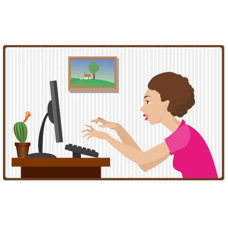 office girl working at the computer Stock Vector - 6959249