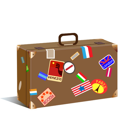trunk with stickers and label Stock Vector - 7124649