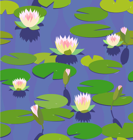 garden pond: water lily seamless background
