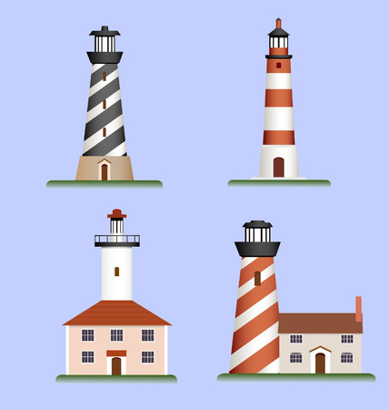 beacon: set of lighthouses Illustration