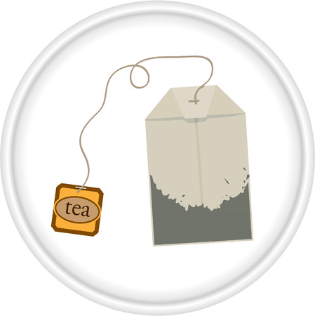 white paper bag: tea bag in saucer