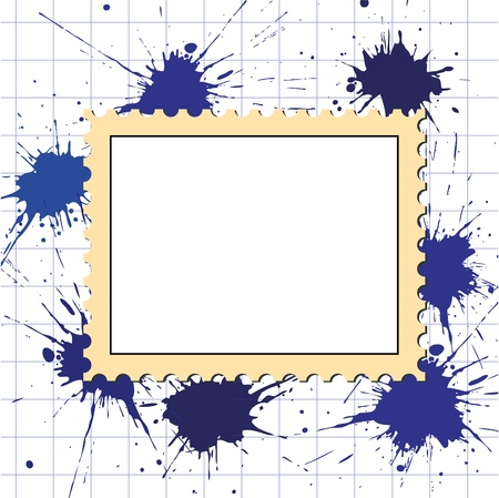 vector postage stamps frame blot on squared paper pattern Stock Vector - 9598435