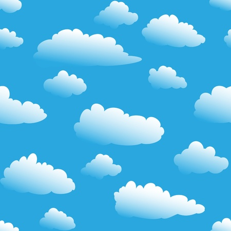 fluffy cloudy cartoon seamless background wallpaper patten Stock Vector - 9598443