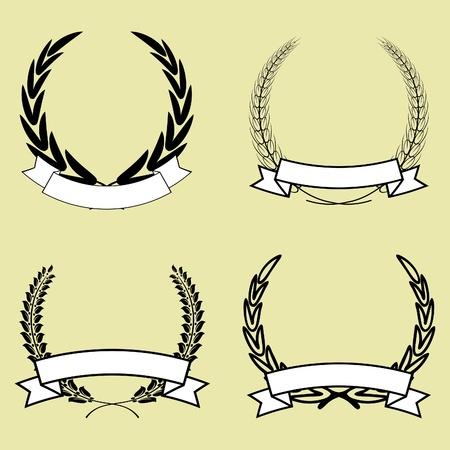 laurel leaf: conjunto de corona de laurel con cinta vector aislado