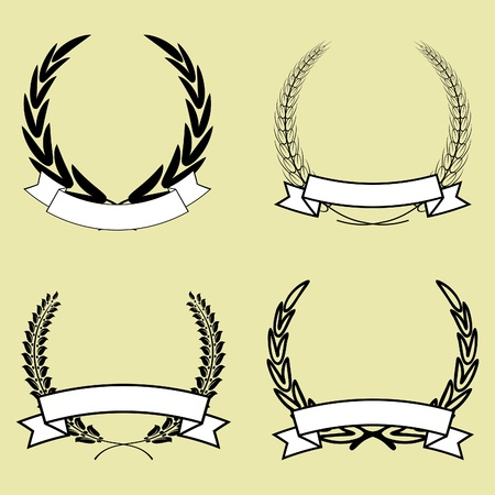 ribbon vector set: set of laurel wreath with ribbon vector isolated Illustration