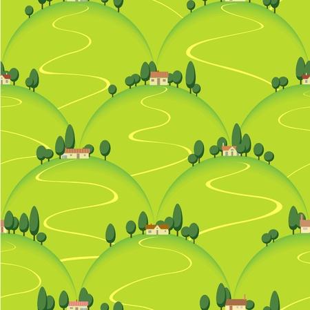 zypresse: Landhaus Landschaft auf Hill nahtlosen Hintergrund