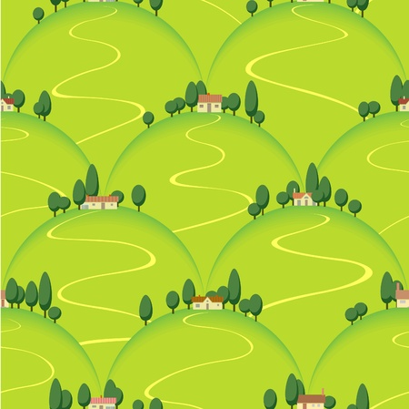landscape country house on hill seamless background Vector