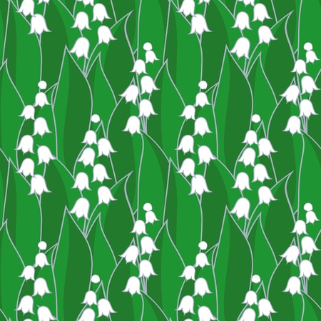 Lily of the valley illustration seamless background Vector
