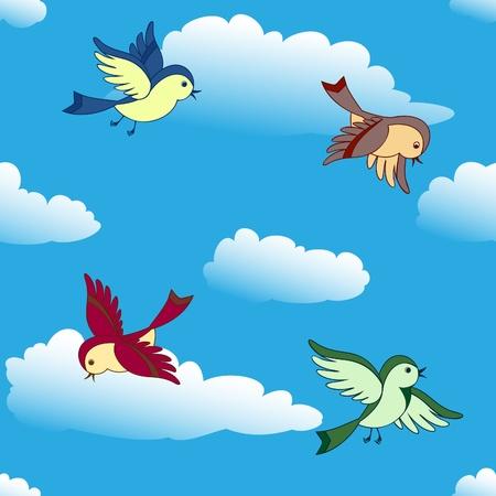 シームレスな背景の青い空を飛んでいる鳥  イラスト・ベクター素材