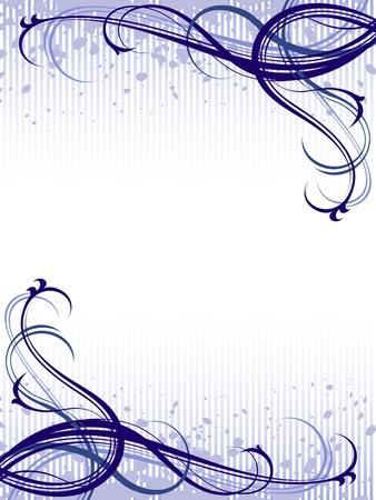 Vector azul abstracta grunge floral de fondo