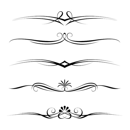 divider: Vector set of decorative elements, border and page rules frame Illustration