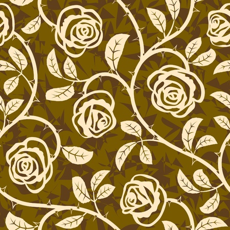 abstract rose flowers seamless repeat pattern background Vector