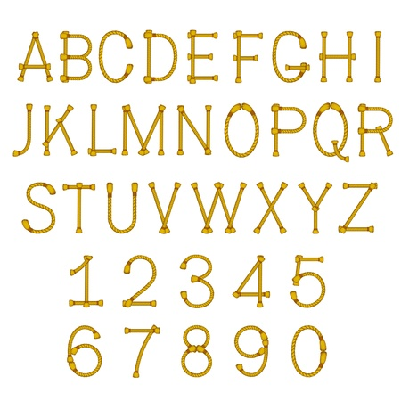 touw letters abc alfabet geïsoleerd op wit