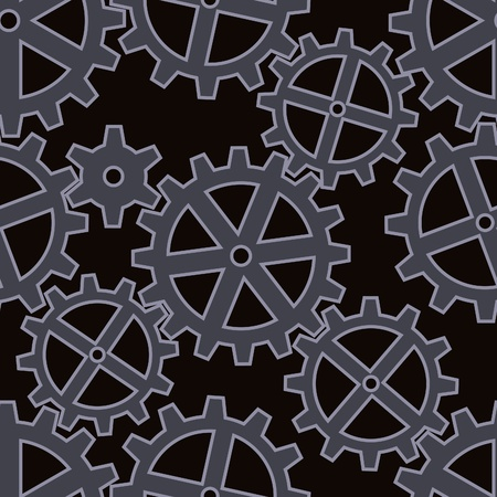gears coupling on black seamless background pattern Vector