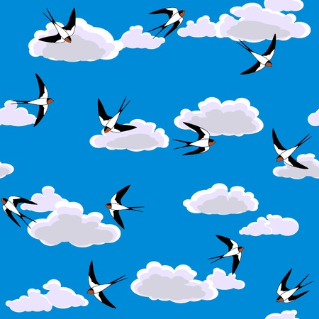 swallow flying to sky seamless background Vector
