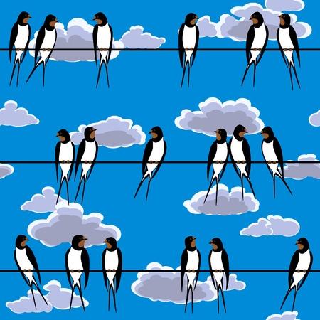 golondrinas: traga alza sobre un alambre contra el cielo azul transparente