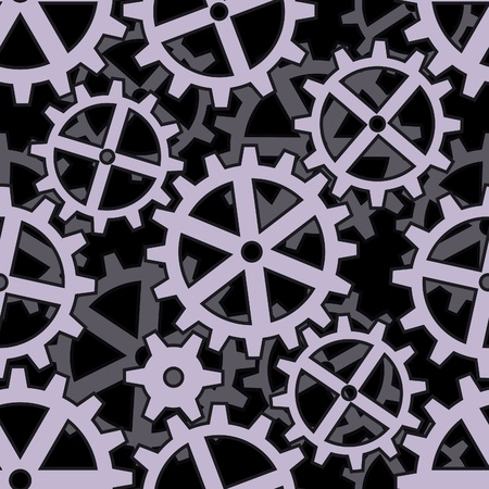 clockwork gears coupling on black seamless background pattern Vector