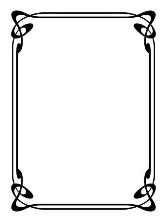 scroll border: art nouveau modern ornamental decorative frame