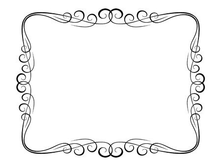 vine border: calligraphy penmanship ornamental deco frame pattern Illustration