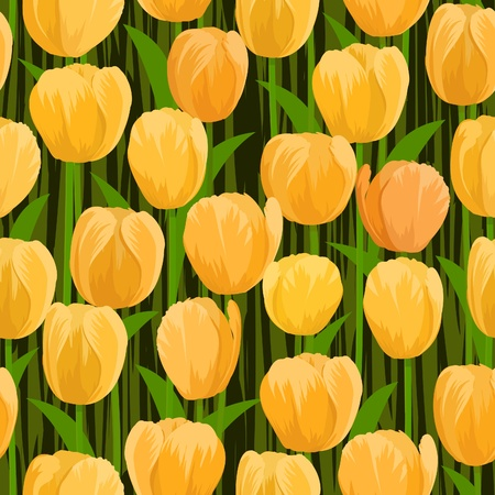 vector yellow tulip flowers field seamless background Vector