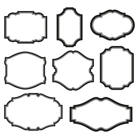 baroque background: baroque simple set of black frames isolated on white Illustration