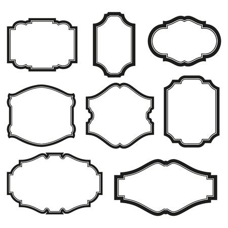 calligraphy frame: barroco conjunto simple de marcos negros aislado en blanco Vectores