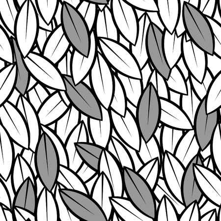 drawing on the fabric: vector seamless abstract leaves background black and white