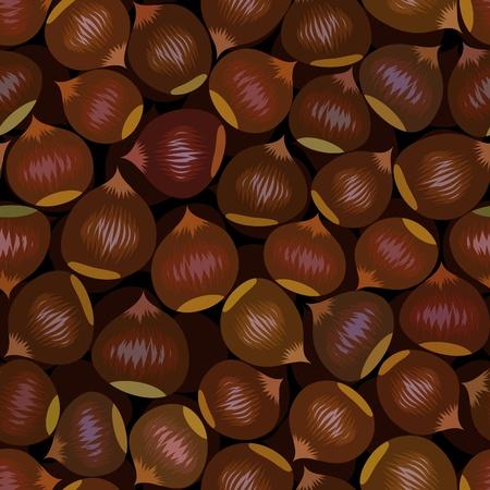 vector seamless brown chestnut snack background pattern Vector