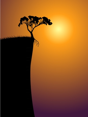 single lonely tree on a precipice, sun in a fog Illustration
