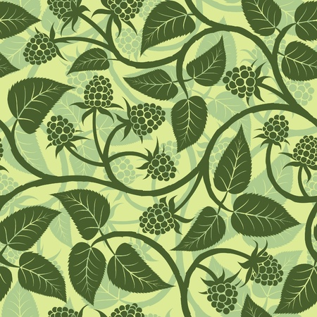 raspberry with leaf silhouette seamless background pattern Illustration