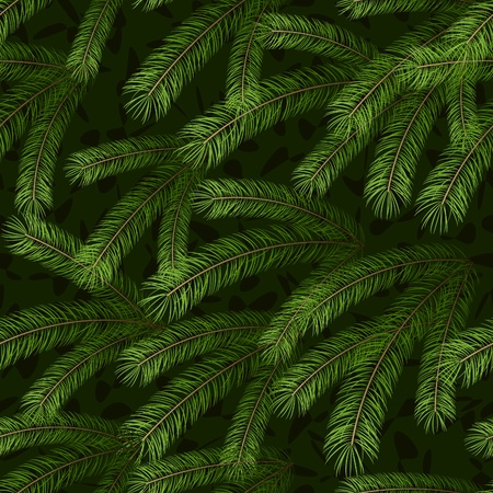 evergreen: Christmas tree fir branch seamless background pattern