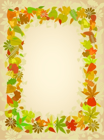borders plants: Autumn leaf frame with space for text pattern