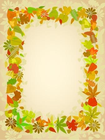 autumn leaf frame: Oto�o marco de hoja con espacio para patr�n de texto