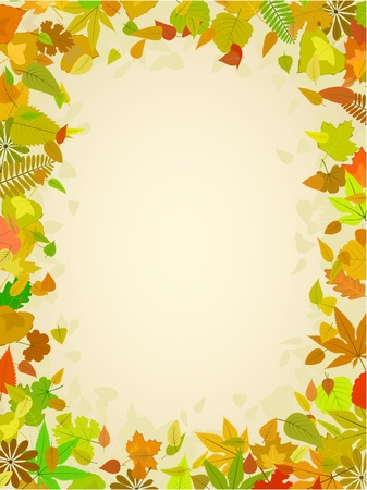 Autumn leaf frame with space for text pattern Vector