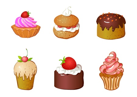 set of cakes and dessert, biscuit Vector