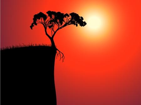 árbol solitario en el borde, el sol en la niebla Vectores