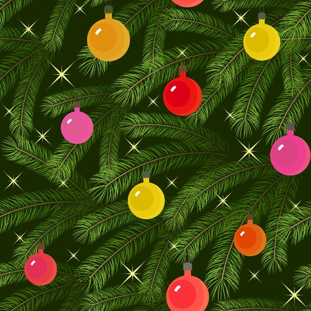 Christmas tree fir branch decorated with balloons seamless Vector
