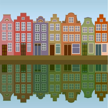 dutch canal house: Amsterdam houses on the canal bank seamless
