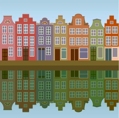Casas de Amsterdam en la orilla del canal transparente Ilustración de vector