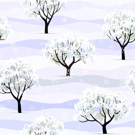 winter garden tree snow covered seamless background Vector