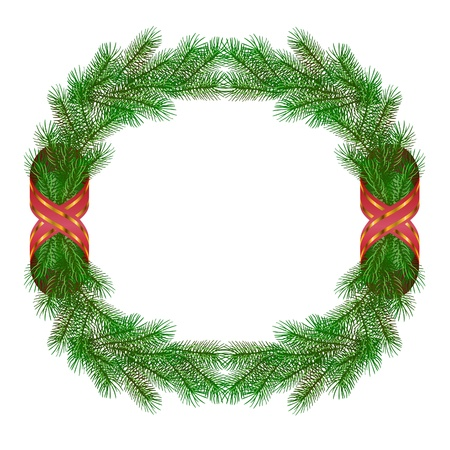 Christmas fir branch wreath frame isolated on white Stock Vector - 10904789