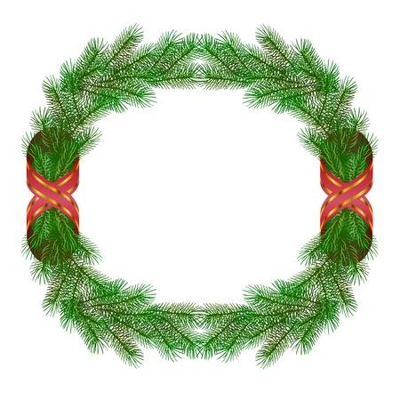fir cone: Rama de abeto de Navidad corona marco aislado en blanco