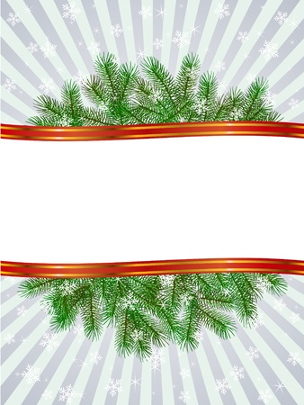 christmas with fir branch pattern frame Vector