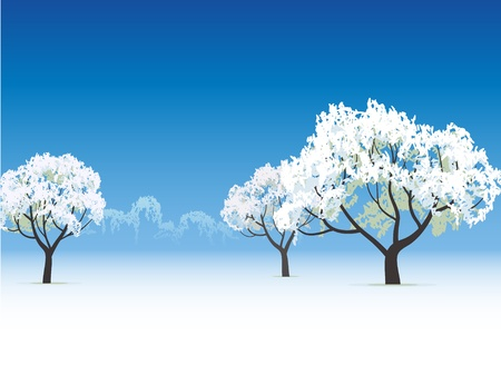 snow field: winter view frozen tree snow covered Illustration