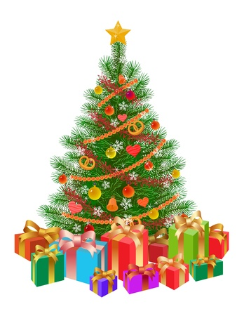 piles: decorated christmas tree, presents, isolated on white