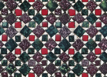 seamless red, green square mosaic Vatican floor texture photo
